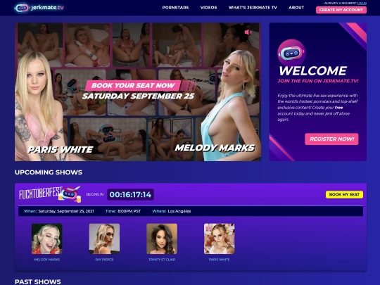 JerkMate TV Join a Live Sex Show of Your Favorite Porn Star